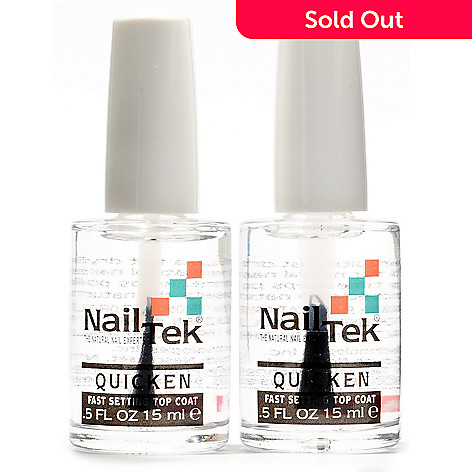 304-885 - Nail Tek QUICKEN Ultra-Fast Drying Top Coat Duo 0.5oz Each