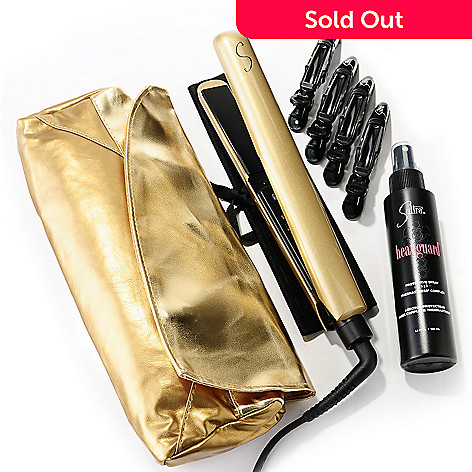 305-114 - Sultra Gold Wicked Styling Iron w/ Heat Guard, Clips & Gold Clutch