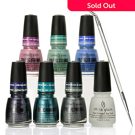 305-151 - China Glaze® Six-Piece Tranzitions Collection, Top Coat & Dotting Tool