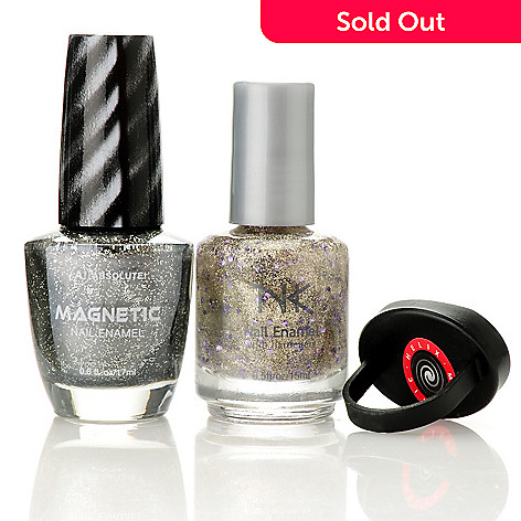 305-159 - ABSOLUTE! Magnetic Nail Enamel & Glitter Overlay Duo w/ Magnetic Swirl