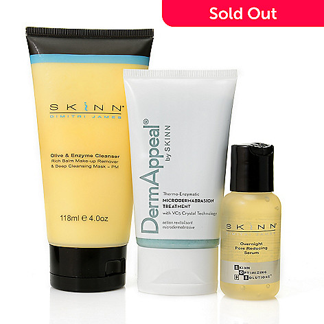 305-223 - Skinn Cosmetics Three-Piece Cleanser, DermAppeal & Pore Reducing Serum Collection