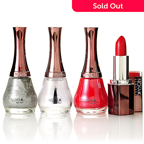 305-241 - Nicka K Silver Shimmer & Red Nail Lacquer Duo w/ Top Coat & Lipstick