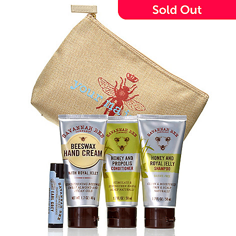 305-339 - Savannah Bee Company Five-Piece Mini-Honey Travel Essentials w/ Bag