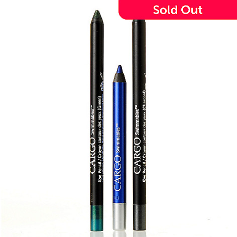 305-360 - CARGO Cosmetics ''Swimmables'' Royal Blue, Sparkling Teal & Charcoal Eye Pencils Trio