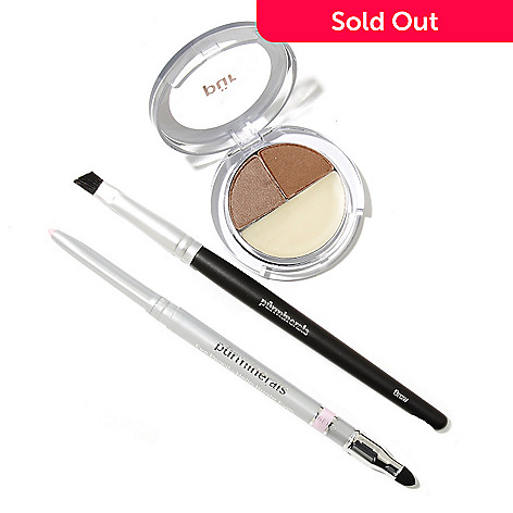 305-542 - Pür Minerals Three-Piece Brow Perfection Trio, Eye Pencil & Brow Brush Set