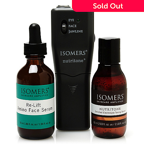 305-603 - ISOMERS Skincare Nutritone® Facial Beauty Device w/ Toning Serum & Re-Lift Serum