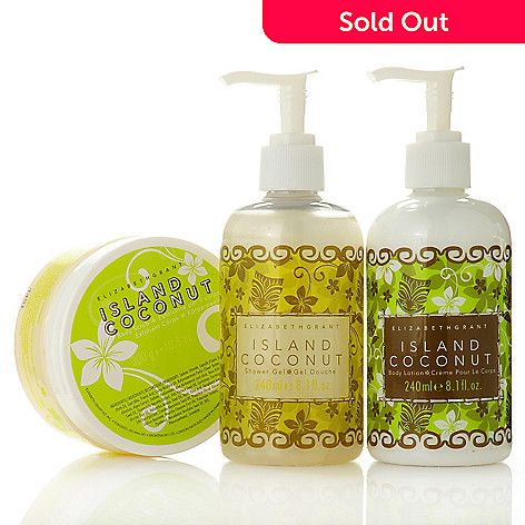 305-650 - Elizabeth Grant Three-Piece Island Coconut Shower Gel, Body Scrub & Lotion Kit