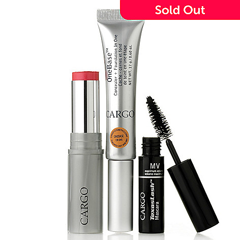 305-771 - CARGO Cosmetics Three-Piece OneBase™ Concealer, Texas Mascara & Oil-Free 3-in-1 Color Stick Kit