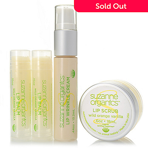 305-817 - Suzanne Somers Organics Four-Piece Lip Scrub, Wrinkle Cream & Balm Collection