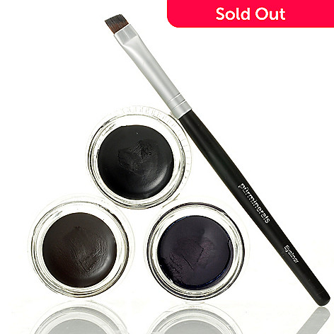 306-009 - Pür Minerals Set of Three Gel Eyeliner Collection w/ Eyeliner Brush