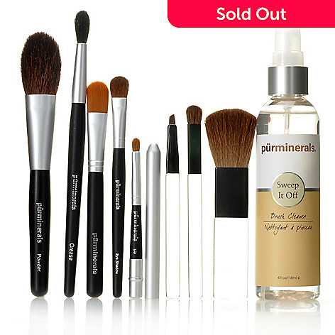 306-013 - Pür Minerals Eight-Piece Brush Set w/ Brush Cleaner 4oz