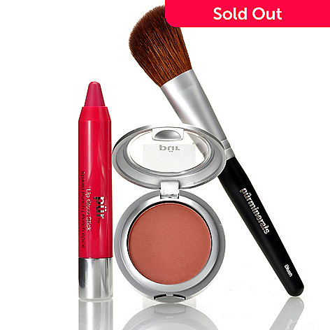 306-024 - Pür Minerals Three-Piece Lip Gloss, Mineral Blush & Brush Set
