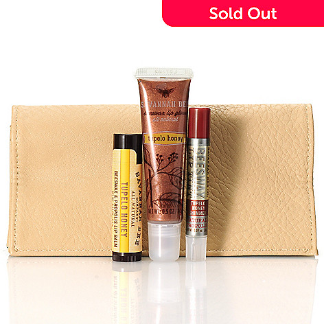 306-241 - Savannah Bee Company Three-Piece ''Bee Chic'' Tupelo Honey Lip Kit w/ Clutch
