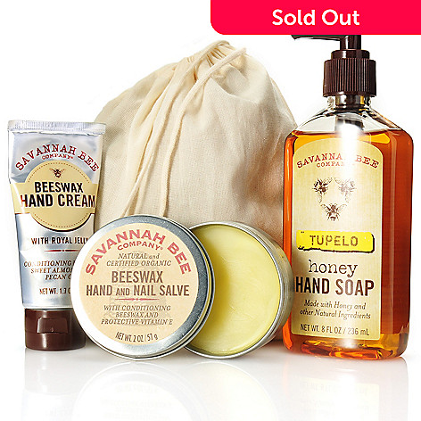 306-243 - Savannah Bee Company Three-Piece Honey Hand Soap, Hand Cream & Nail Salve Kit