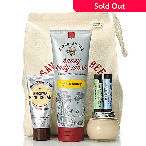 306-245 - Savannah Bee Company® Five-Piece ''Bee-utiful'' Body Care & Lip Kit w/ Reusable Lunch Bag