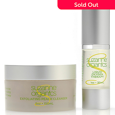 306-544 - Suzanne Somers Organics Liquid Oxygen Therapy & Exfoliating Peach Cleanser Duo
