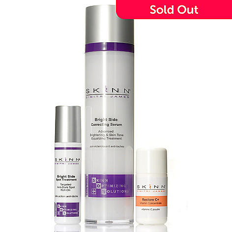 306-667 - Skinn Cosmetics SOS Bright Side Correcting Serum, Spot Treatment & Restore C+ Trio