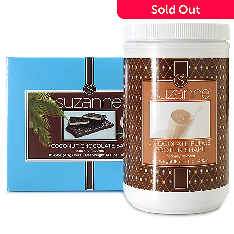 306-927 - Suzanne Somers Protein Shake Mix & Box of Coconut Chocolate Snack Bars