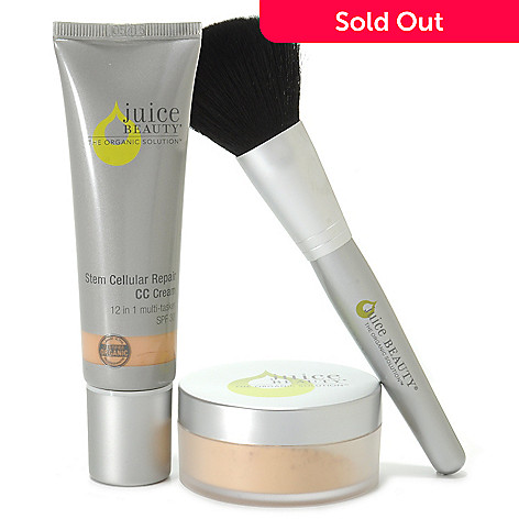 307-033 - Juice Beauty Three-Piece Certified Organic Stem Cellular CC Cream, Finishing Powder & Brush Set
