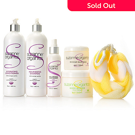 307-173 - Suzanne Somers Organics Five-Piece Complete Haircare & Body Butter Set w/ Shower Loofah