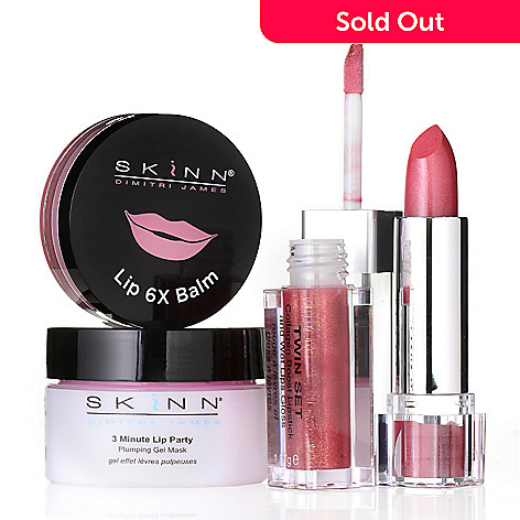 307-418 - Skinn Cosmetics 3-Minute Lip Party Gel Mask, Lip 6X Balm & Twin Set Lip Trio