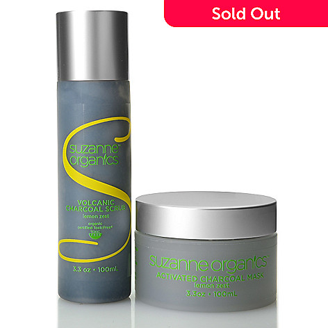 307-852 - Suzanne Somers Organics Volcanic Charcoal Scrub & Activated Charcoal Mask Duo