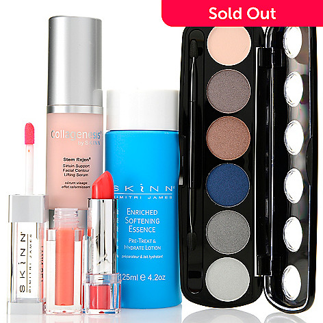 307-983 - Skinn Cosmetics Four-Piece ''Nourished & Glammed Up'' Skincare & Color Collection
