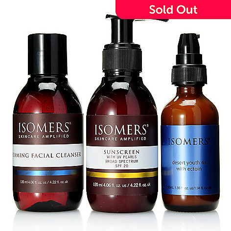 308-399 - ISOMERS Skincare Foaming Facial Cleanser, Desert Youth Quattro & SPF 20 Sunscreen Trio
