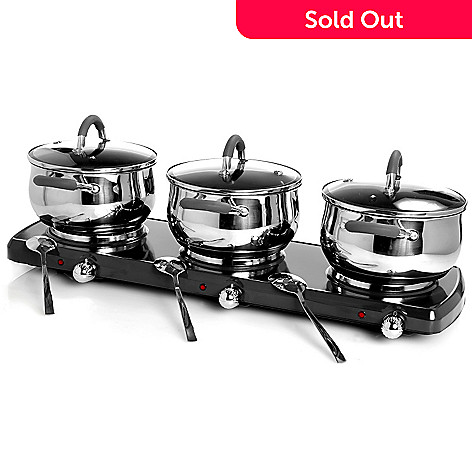 400-197 - Trinity 10-Piece Non-Stick 1500 Watt Triple Burner Buffet Set