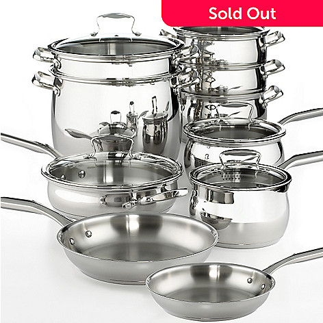 400-270 - Macy's Tools of the Trade® Belgique® 15-Piece Stainless Steel Cookware Set