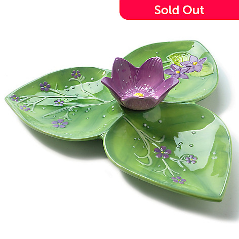 400-362 - Suzanne Somers Ceramic Violet Chip & Dip Bowl