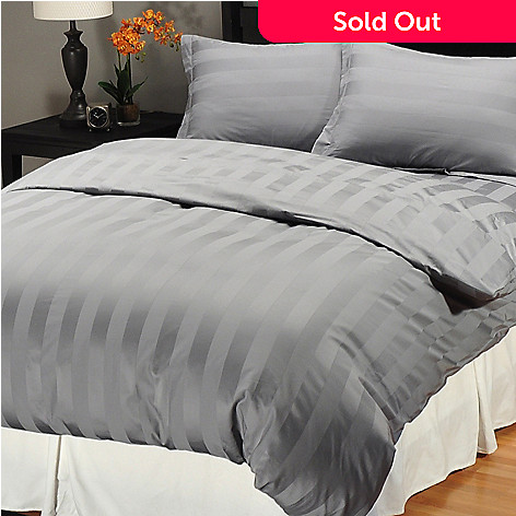 401-416 - North Shore Linens™ 500TC Egyptian Cotton Wide Damask Stripe Three-Piece Duvet Set