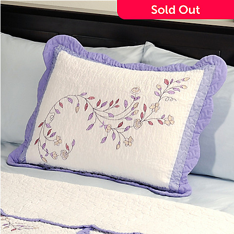 401-587 - North Shore[ ''Misty Vine'' Embroidered 100% Cotton Quilted Sham