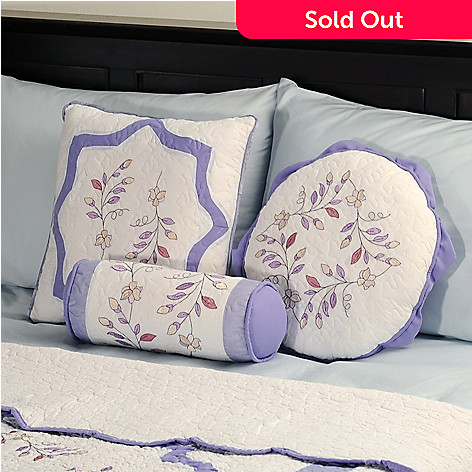 401-588 - North Shore[ ''Misty Vine'' Set of 3 Embroidered Quilted Pillows