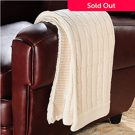 401-680 - North Shore Linens[ 70'' x 50'' Cable Knit Throw