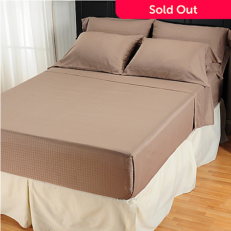 401-692 - Cozelle™ Medium-Weight 95GSM Microfiber Woven Check Six-Piece Sheet Set