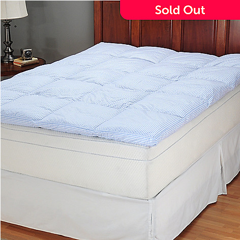 401-729 - North Shore Linens™ 230TC Cotton White Duck Granny Stripe Feather Bed