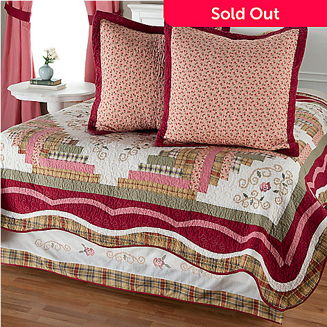 401-793 - North Shore™ Collectible Quilts ''Millbrook'' Euro Sham Pair & Bed Skirt