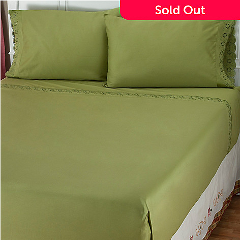 401-839 - North Shore Linens™ 400TC Egyptian Cotton ''Eyelet Lace'' Four-Piece Sheet Set