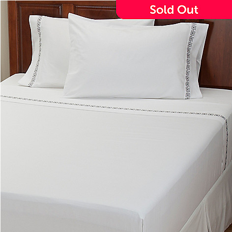 401-931 - North Shore Linens™ ''Four Corners'' 300TC Cotton Sateen Four-Piece Sheet Set