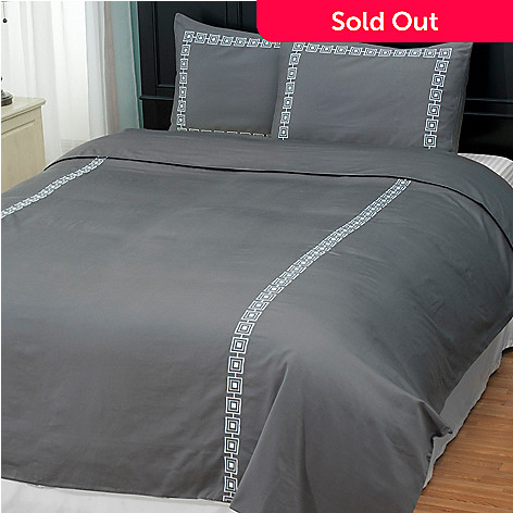 401-932 - North Shore Living™ ''Four Corners'' 300TC Cotton Sateen Three-Piece Duvet Set