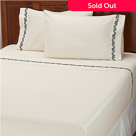 401-933 - North Shore Linens™ ''Caesar Leaf'' 300TC Cotton Sateen Four-Piece Sheet Set