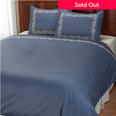 401-934 - North Shore Linens™ ''Caesar Leaf'' 300TC Cotton Three-Piece Duvet Set