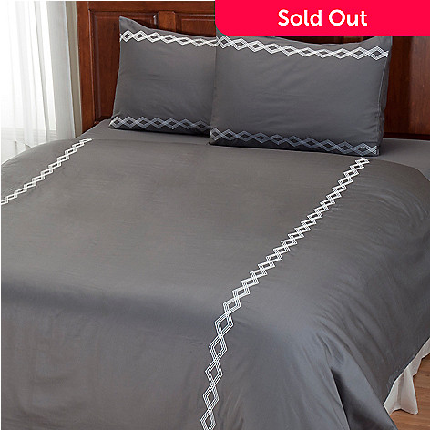 401-936 - North Shore Linens™ ''Double Diamond'' 300TC Cotton Three-Piece Duvet Set