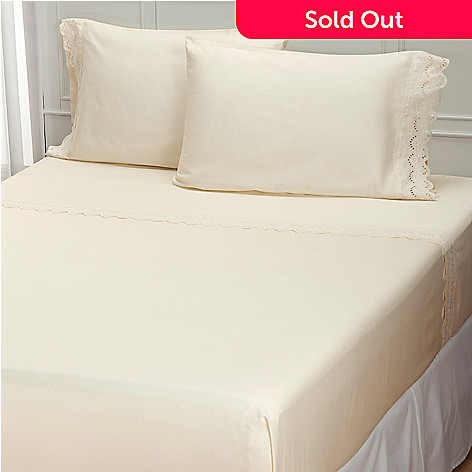 401-945 - North Shore Linens™ ''Battenburg'' 300TC Cotton Four-Piece Sheet Set