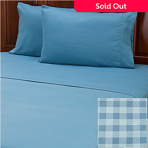 401-959 - Cozelle® ''Gingham'' Set of Two Microfiber Four-Piece Sheet Sets