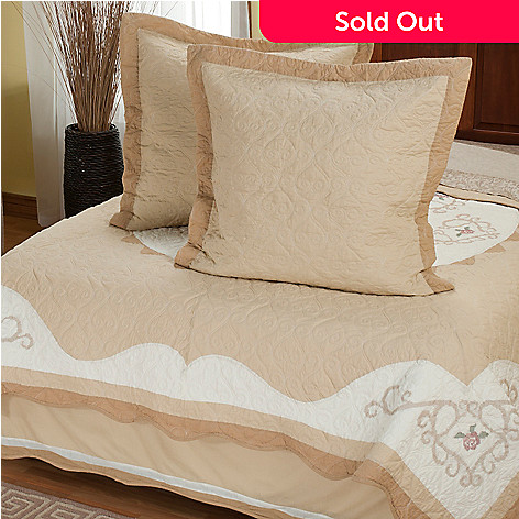 402-023 - North Shore™ Collectible Quilts ''Heather Rose'' Three-Piece Euro Sham Pair & Bed Skirt