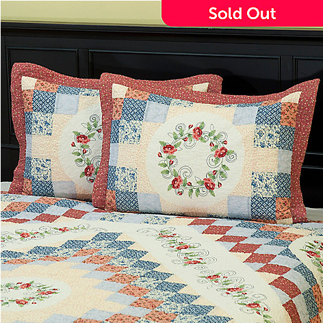 402-089 - North Shore™ Collectible Quilts ''Garden Song'' 100% Cotton Quilted Sham Pair