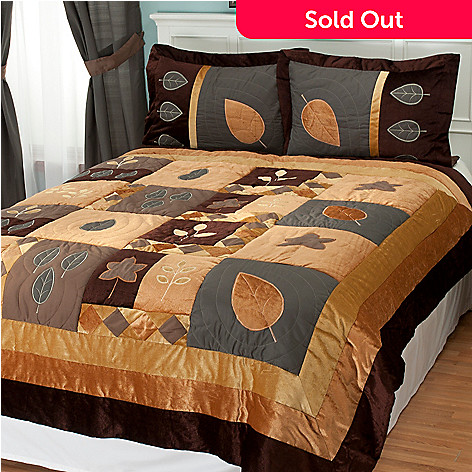 402-098 - North Shore Linens™ ''Velvet Leaf'' Three-Piece Coverlet Set