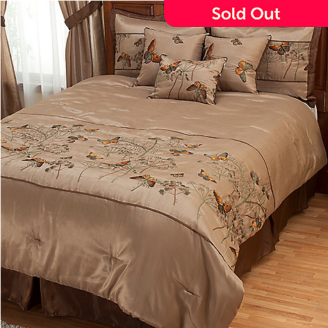 402-101 - North Shore Linens™ ''Golden Butterfly'' Seven-Piece Bedding Ensemble